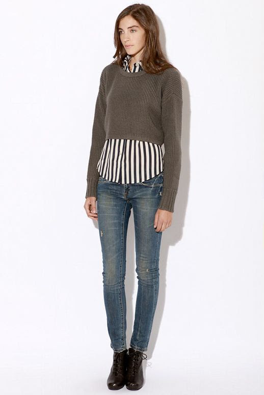 URBAN OUTFITTERS BLACK AND WHITE STRIPE STRIPED BUTTON UP LAYERS SWEATER SKINNY DENIM VINTAGE LACE UP BOOTS