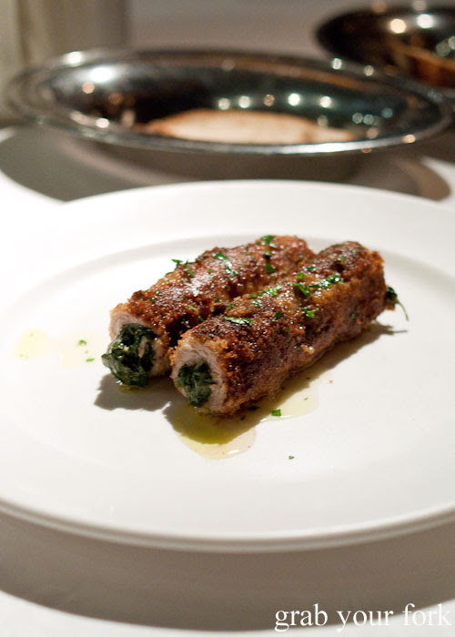 Crumbed veal rolled with spinach, nutmeg and parmesan at Buon Ricordo, Paddington