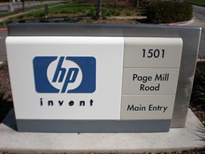 A sign at the main entrance to Hewlett-Packard...