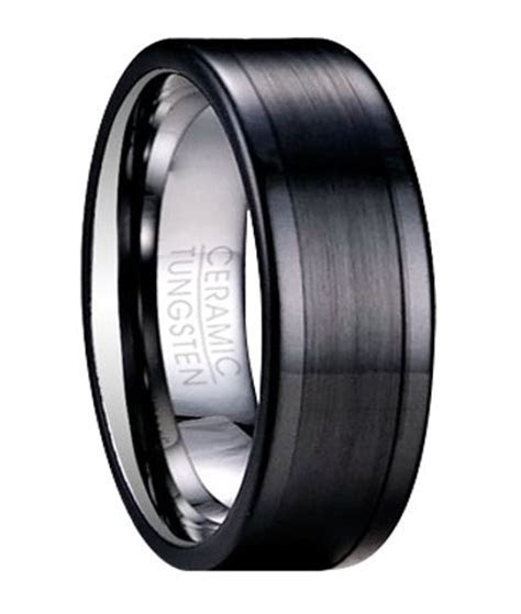 Black Tungsten Wedding Ring for Men with Ceramic Overlay