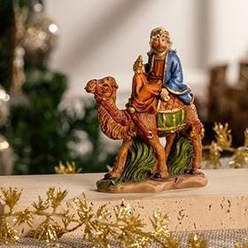 Figura de Rey Mago con túnica azul y camello de 13cm