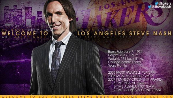 Steve Nash is now a Los Angeles Laker, as of July 11, 2012.