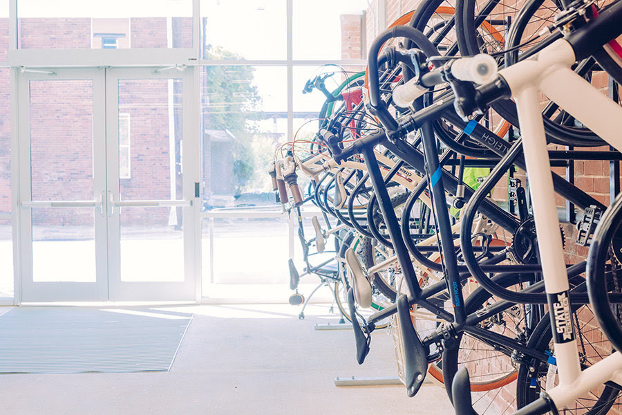 A ride-in bike storage area has room for 80 bikes, including eight loaners for employees who need to zip to a cross-town meeting, or to take home if ride-share buddies leave them behind.