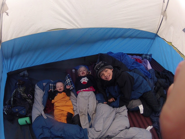 Kids in the tent at Point Reyes