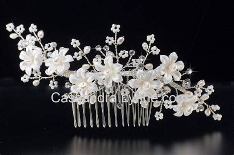 Pearl Bridal Hair Comb of Lustre Porcelain Flowers from