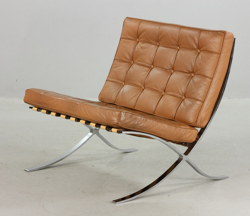 Lot Detail - Brown Leather Barcelona Chair