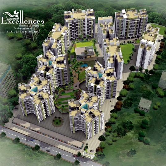 Layout Plan of Gandharva Excellence, 1 BHK 1.5 BHK 2 BHK 2.5 BHK 3 BHK 3.5 BHK Flats on Dehu Alandi Road, near Modern College of Pharmacy, Borhadewadi - Moshi, PCMC, Pune 412105