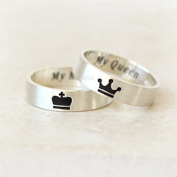 Personalized Crown Ring For King And Queen Laonato