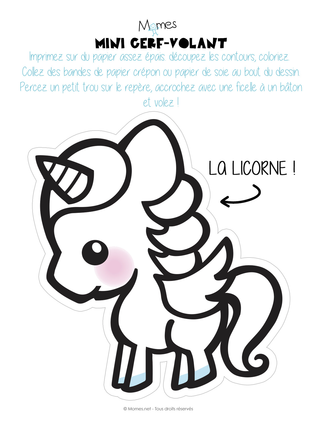 Mini Cerf Volant Licorne à Imprimer Momesnet