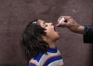 Afghan child receives polio vaccination drops during an anti-polio campaign in Kabul
