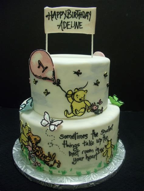 Classic Winnie the Pooh birthday cake. Hand painted