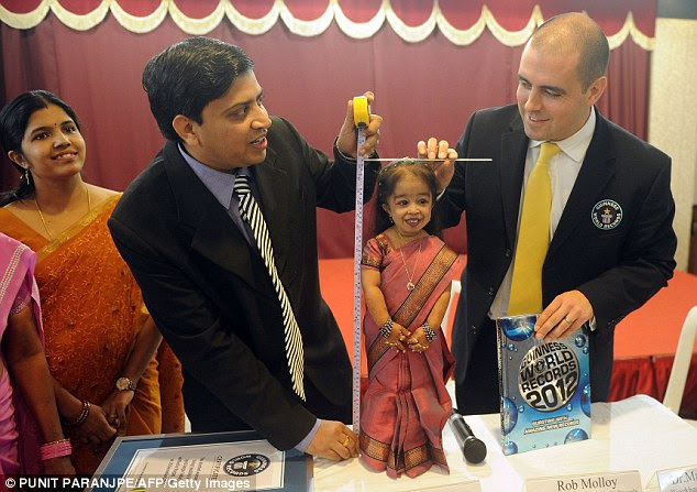 Big news: Jyoti is measured at 62.8cm on her 18th birthday by Guinness World Record officials, making her the world's shortest woman