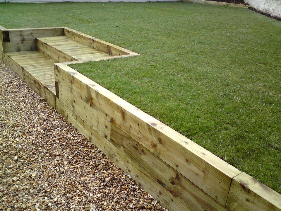 railway sleeper and timber deck steps