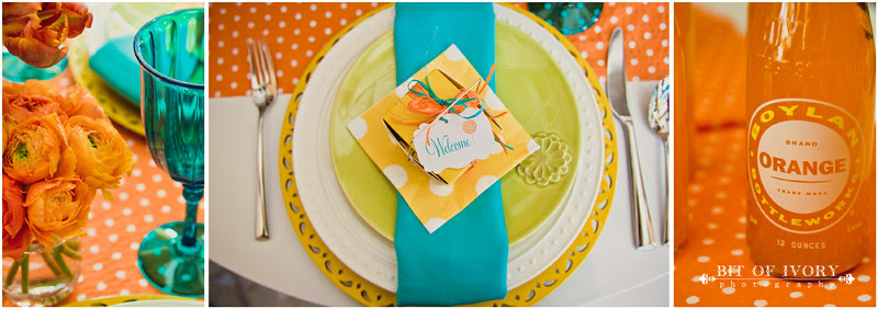teal and orange wedding candy
