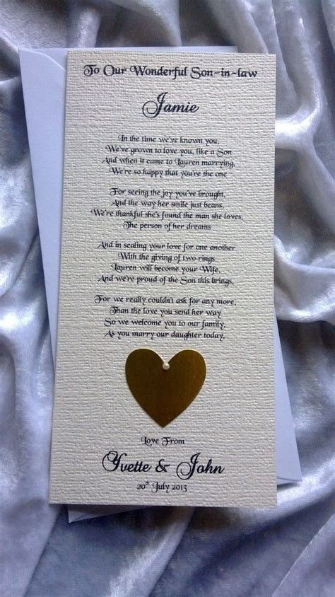 Mother or Parents of the Bride To Son in law Personalised