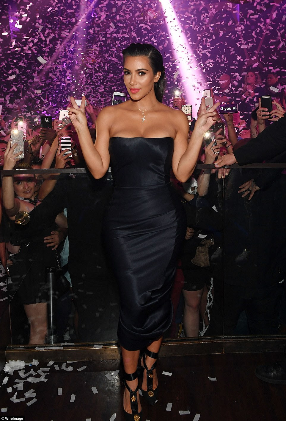 Svelte and toned: Kim parties in Vegas inside Hakkasan on Friday