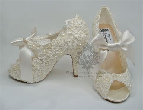 WOMENS NEW IVORY VINTAGE LACE PEARL PEEP TOE HIGH HEEL
