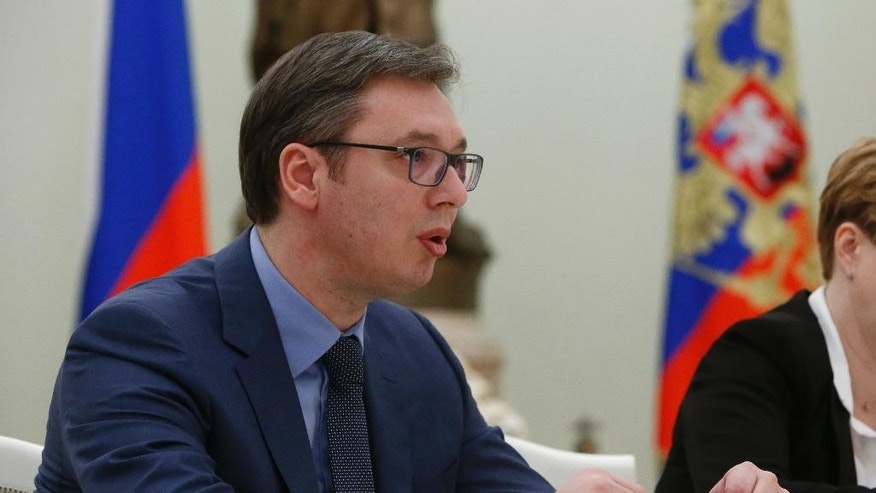 Serbian Prime Minister, Aleksandar Vucic, meets with Russian President Vladimir Putin during a meeting in Moscow, Russia, Monday, March 27, 2017. (Sergei Karpukhin/Pool photo via AP)