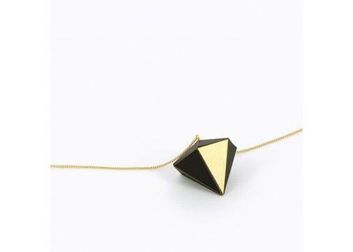 Black and Gold Geometric Paper Necklace