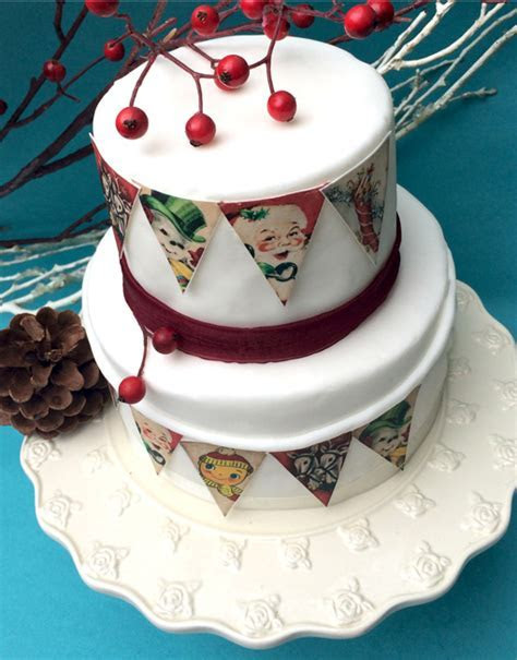 Retro Christmas Cake Bunting   Edible   Gift Shop