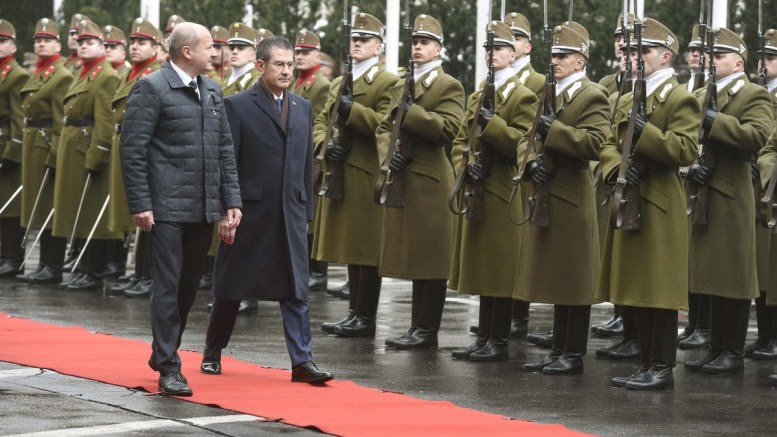 Hungarian Minister of Defence Istvan Simicsko and his Turkish counterpart Nurettin Canikli inspect the honour guards during Canikli's official welcome at the Ministry of Defence in Budapest, Hungary, 08 March 2018. EPA, Noemi Bruzak