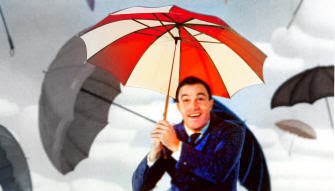 Gene Kelly in the 1952 prequel movie 'Singing In The Acid Rain from the Nuclear Meltdown at Racoon City'