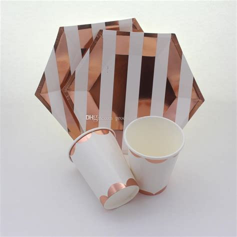 2019 Foil Rose Gold Striped Tableware Party Supplies Party