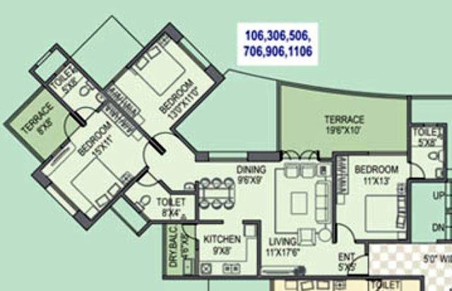 Paranjape Schemes' Gloria Grace E Wing 1052 Carpet + 247 Terrace for Rs. 79.24 Lakhs