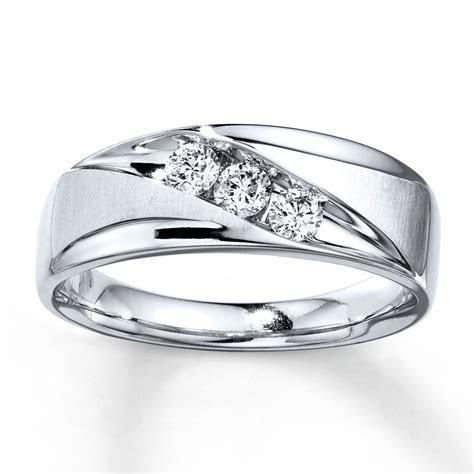 Kay   Men's Wedding Band 3/8 ct tw Diamonds 10K White Gold