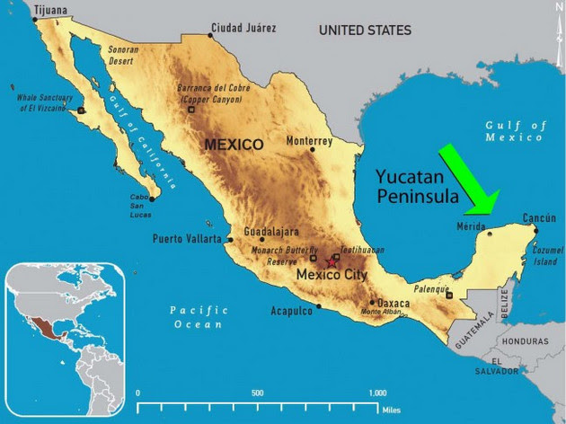 The Yucatan Peninsula, which divides the Gulf of Mexico in the Caribbean Sea, encompasses the states of Campeche, Quintana Roo and Yucatan, and plays a key climate role, as it is home to rainforest that regulates water flow and temperatures in the region. Credit: Public domain