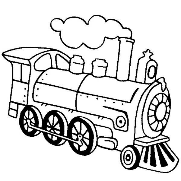 Locomotive of Steam Train Coloring Page - NetArt