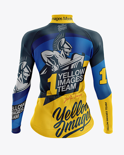 Download Womens Cycling Thermal Jersey LS mockup Back View (PSD ...