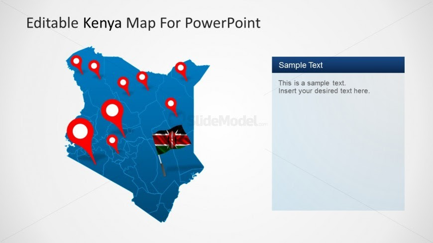 Editable Kenya Map Outline With GPS Markers - SlideModel