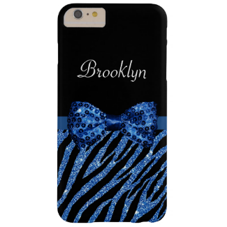 Chic Blue Glitter Zebra Print Luxe Bow With Name Barely There iPhone 6 Plus Case