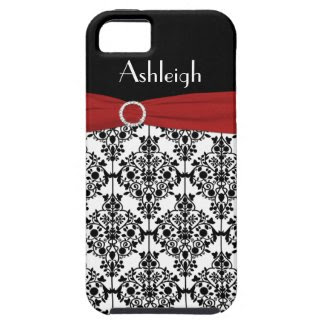 Personalized Red Black White Damask iPhone 5 Case