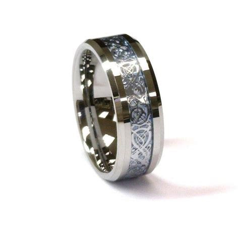 AMZ 8Mm Tungsten Carbide Ring & Silver Celtic Dragon on