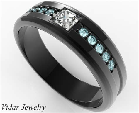Mens Wedding Band Black Gold Aquamarine Princess Cut