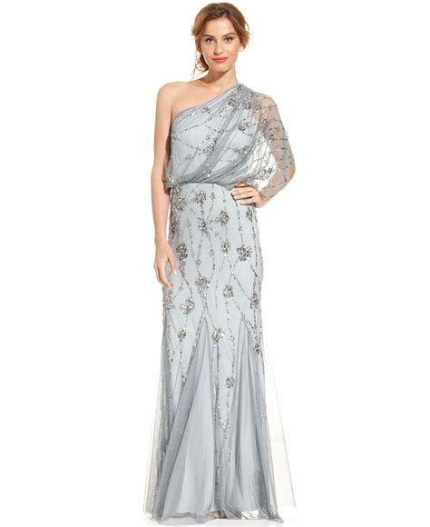 Adrianna Papell One Shoulder Beaded Blouson Gown   Bridal