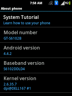 Galaxy Y Duos Android 4.4 Kitkat