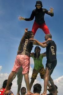 Photo of human pyramid