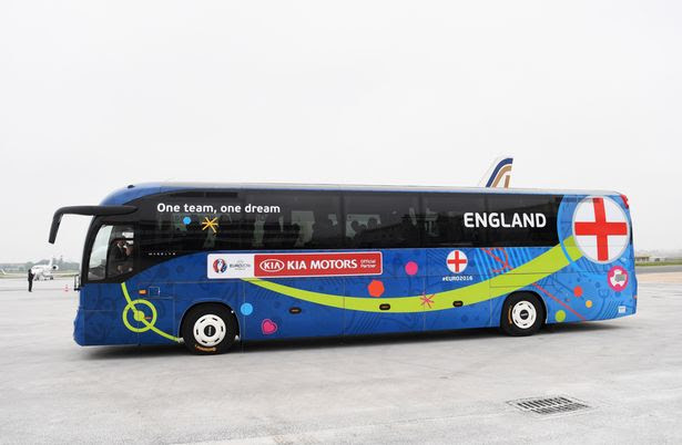 The England coach is seen as the England team arrive for UEFA Euro 2016 at Paris Airport-Le Bourget