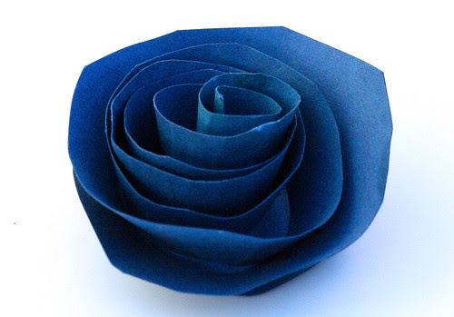 Blue cardstock rose