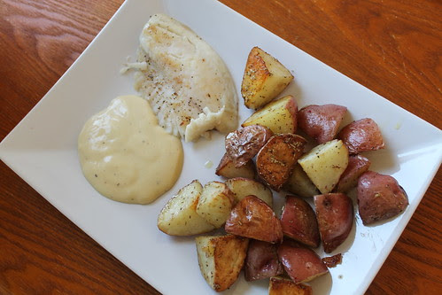 Seared tilapia with from-scratch aïoli and rosemary olive oil roasted new potatoes