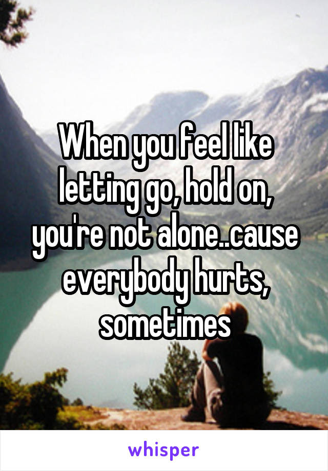 When You Feel Like Letting Go Hold On Youre Not Alonecause