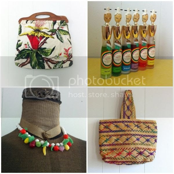 vintage glass fruit necklace embroidered yarn purse geisha wood liqoue bottles