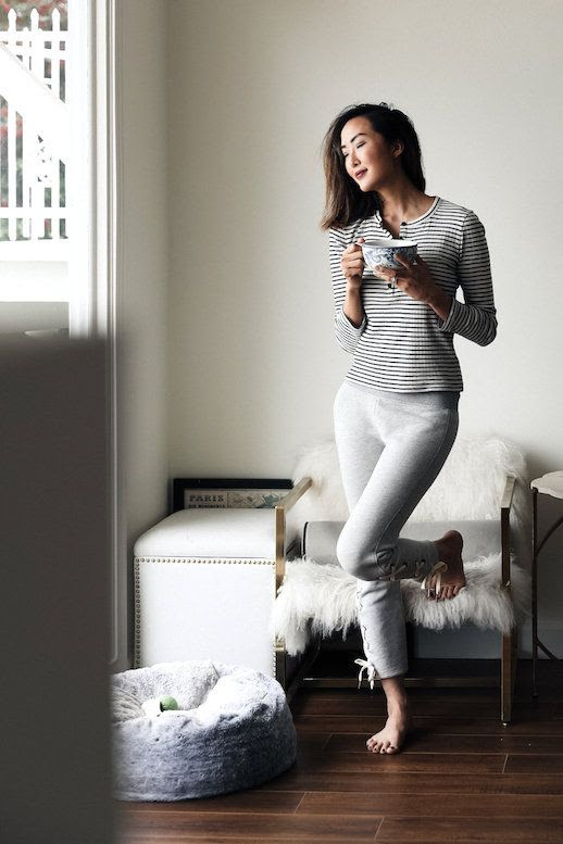 Le Fashion Blog Must Have Loungewear Striped T Shirt Grey Joggers Via The Chriselle Factor