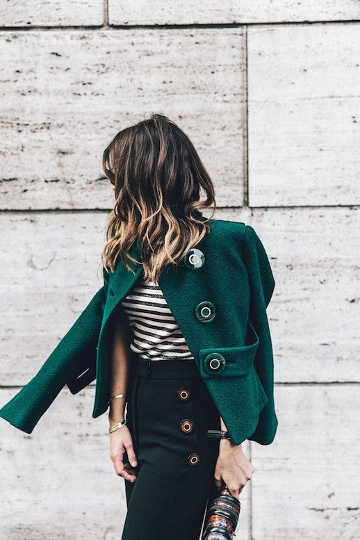 Le Fashion Blog Ways To Wear Green Coat Fall Winter Street Style Boucle Button Jacket Stripe Shirt High Waist Pants Via Collage Vintage