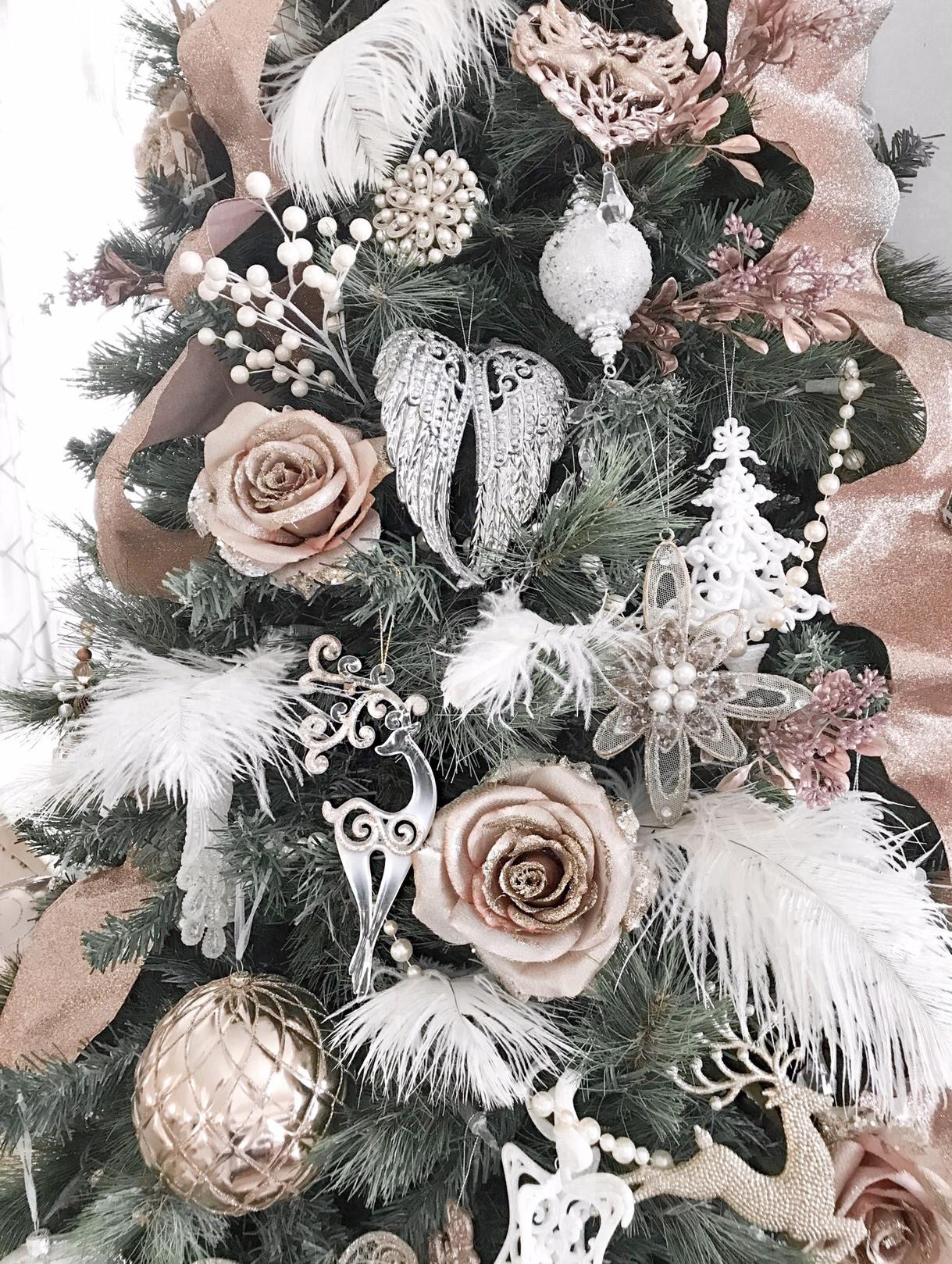 White Christmas Tree Rose Gold Decorations Dekoration Ideen
