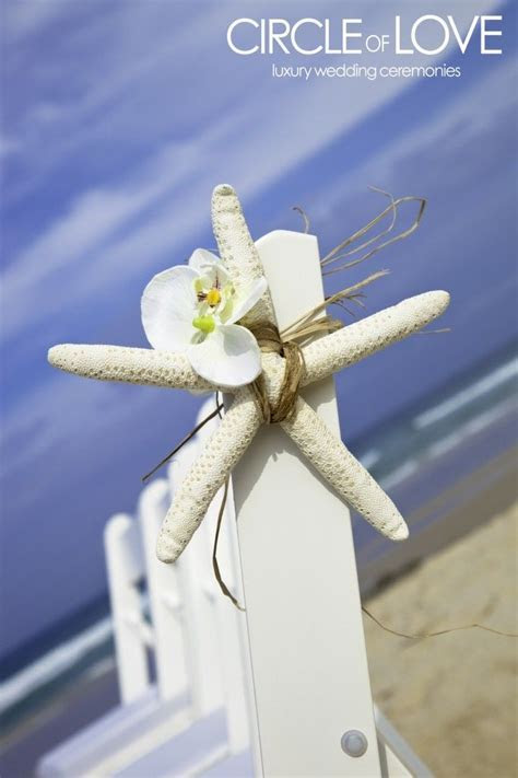 starfish wrapped with raffia & orchid decor   My 10yr Vow