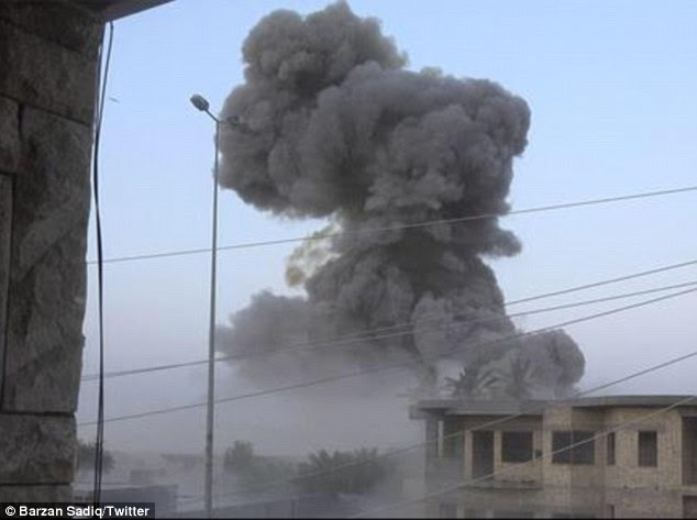 Destruction: ISIS displaced tens of thousands from Ramadi (pictured) after violently seizing control of the city